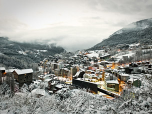foto van skidorpen in Andorra